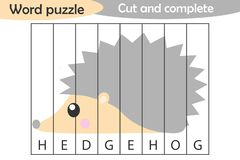 Word puzzle, hedgehog in cartoon style, education game for development of preschool children, use scissors, cut parts of the image