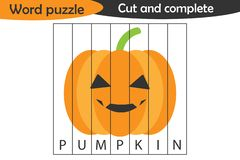 Word puzzle, pumpkin in cartoon style, halloween education game for development of preschool children, use scissors, cut parts of vector illustration