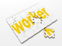 Word puzzles pertaining to the business on a white background, 3d render Stock Images