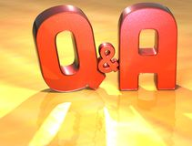 Word Q&A sur le fond jaune Image libre de droits