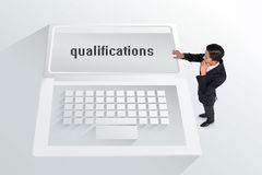 The word qualifications and thoughtful asian businessman Stock Photo