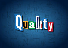 The word Quality made from cutout letters. On a blue background Royalty Free Stock Photography