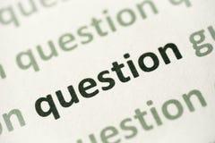 Word question printed on paper macro. Word question printed on white paper macro Stock Images