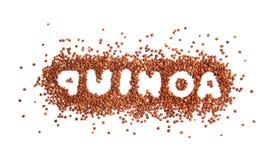 Word QUINOA met rode zaden op witte achtergrond wordt geschreven die royalty-vrije stock fotografie