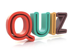 The word Quiz in colored 3D letters to illustrate an exam Royalty Free Stock Photos