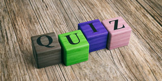 Word Quiz on wooden blocks. 3d illustration Royalty Free Stock Image