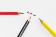 Word racism surrounded by pencils stock image