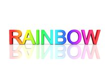 The word RAINBOW in rainbow colors. On a reflective white surface Royalty Free Stock Photography
