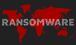 The word ransomware composed of the names of viruses on the back Stock Photos