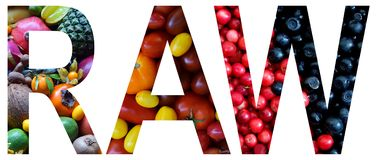 Word raw laid out to from colourful multi-colored fruits and vegetables. Healthy food concept. Vegetarian product. Organic Raw Pro. Duce Royalty Free Stock Photo