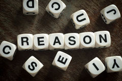 Word reason on toy cubes. Word reason on white toy cubes stock image