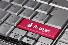 The word rebajas on a computer key Stock Image