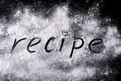 Word on the recipe flour Stock Images