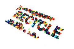 Word recycle from color plastic caps Stock Images