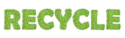 The word RECYCLE from the green grass. On white Stock Image