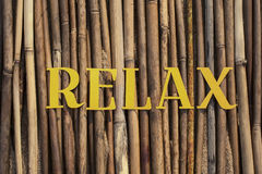 Word on the reeds. Laid out word RELAX on reeds Royalty Free Stock Photography