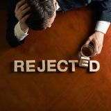 Word Rejected and devastated man composition Royalty Free Stock Images