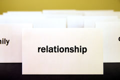 Word Relationship on a white paper card surrounded by other word Royalty Free Stock Photos