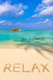 Word Relax on beach Stock Photos