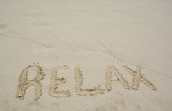 Word Relax on beach. Royalty Free Stock Photography