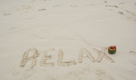 Word Relax on beach. Royalty Free Stock Images