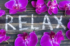 Word Relax with Pink Orchid. On Rustic Wooden Background royalty free stock image