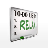The word relax on to-do list whiteboard Royalty Free Stock Photo