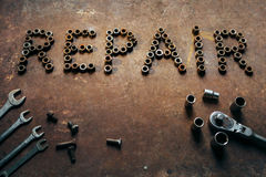 The word Repair made of tools Royalty Free Stock Photos