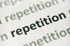 Free Word Repetition Printed On Paper Macro Stock Photography - 122023892