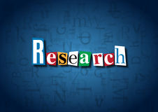 The word Research made from cutout letters. On a blue background Royalty Free Stock Images