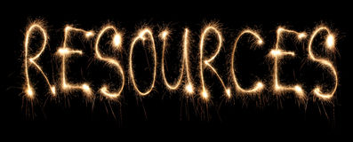 Word resources written sparkler Stock Images