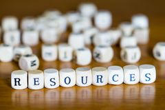 Word Resources written with wooden cubes stock images