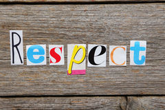The word Respect. In cut out magazine letters stock photo
