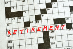 The Word Retirement on Crossword Puzzle. In Red Ink, Copy Space Royalty Free Stock Images
