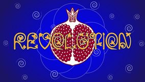 The Word `Revolution` with a pomegranate fruit on blue background royalty free stock photography