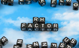 The word Rh factor. On the sky background stock photos