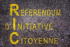 Word RIC die referendum betekenen op het initiatief van de burger op asfalt stock fotografie