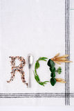 The word rice written in rice Stock Photography