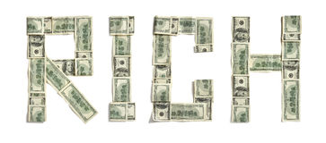 Word RICH made of dollars Royalty Free Stock Photos