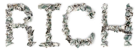 Rich - Crimped 100$ Bills Royalty Free Stock Photo
