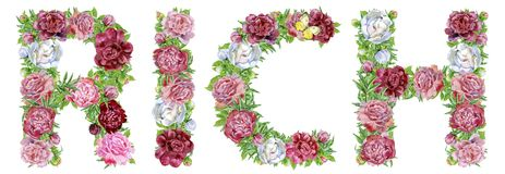 Word RICH of watercolor flowers. Isolated hand drawn on a white background, wedding design, english alphabet stock illustration