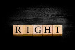 Word RIGHT isolated on black background with copy space Stock Photos