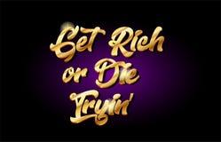 word rijk of matrijs die 3d gouden gouden het embleempictogram proberen van het tekstmetaal desig Royalty-vrije Stock Foto's