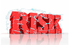 Word `risk` with electric waves. 3d rendering of red colored `risk` letters Stock Image