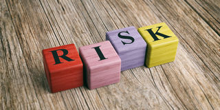 Word Risk on wooden blocks. 3d illustration Royalty Free Stock Photography