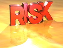 Word Risk on yellow background Royalty Free Stock Photography