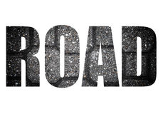 Word ROAD over Sidewalk tile made of natural stones. Background. Royalty Free Stock Photography