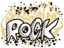 Word rock. In the fire Stock Images