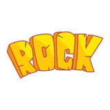 Word Rock written in cartoon style, colorful illustration Royalty Free Stock Images