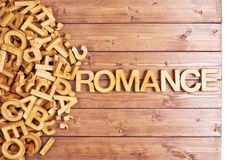 Word romance made with wooden letters Royalty Free Stock Image